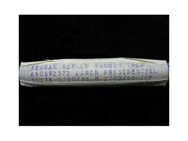 This undated image released by PFCAuctions shows a vial containing Ronald Reagan's dried blood residue. A Channel Islands online auction house has angered Ronald Reagan's foundation by claiming to offer a vial that once contained his blood.