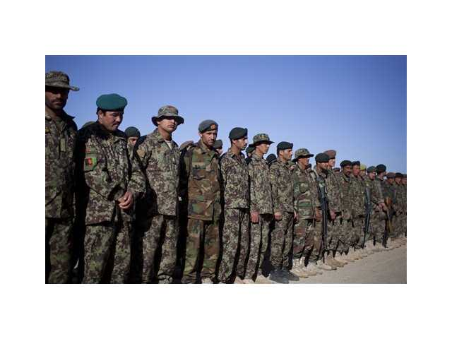 Afghan Army soldiers line up for a morning inspection at Chinari outpost in Logar province, east Afghanistan, Tuesday. Afghan forces for the first time will take over the lead of the combat mission by the middle of 2013, a milestone moment in a long, costly transition of control.