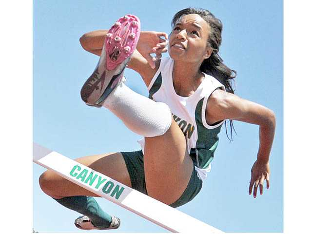 Canyon High track and field athlete Taylor Thomas finished every single hurdles race in her Foothill League career in first place. She won a CIF-SS Division II 100 hurdles title last Saturday.