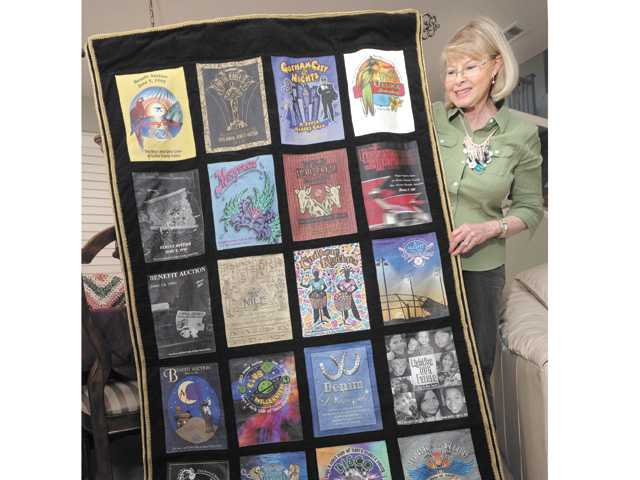 Myrna Condie's tapestry made from copies of the annual benefit auction programs of the Boys & Girls Club of SCV.