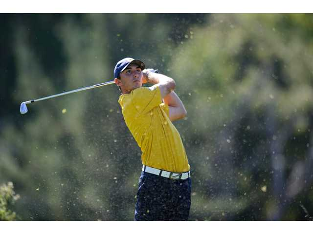 Valencia High graduate and University of California, Berkeley golfer Max Homa hits a shot at the Alister MacKenzie Invitational on Oct. 18 in Fairfax. Homa and the Golden Bears will compete this week at the NCAA Division I Championship, after having won the first Pac-12 title in school history earlier this season.