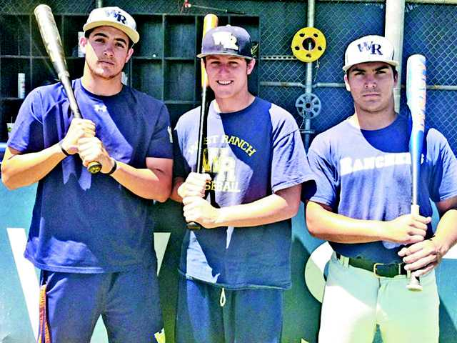 (From left to right) West Ranch seniors Justin Hovis, Josh Heinz and Gabe Peralta have been important cogs in the Wildcats' run to the CIF-Southern Section Division I semifinals, helping prove the team is more than just great pitching.