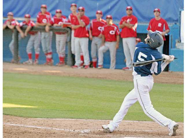 West Ranch freshman Jagger Rusconi hits a game-ending popup to first base against Corona on Tuesday in Long Beach.