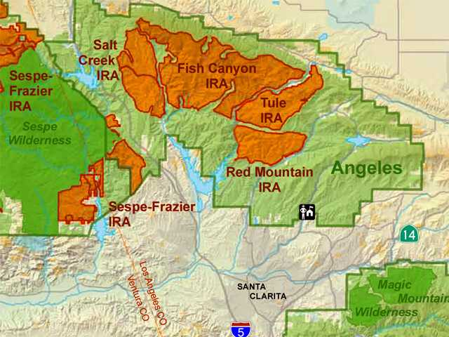 The following mapped areas are being considered for federal wilderness designation: Fish Canyon, Salt Creek, Tule, Sespe-Frazier and Red Mountain.