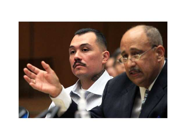 Defendant Louie Sanchez, left, appears in Los Angeles Superior Court with an attorney on Wednesday, May 30, 2012, in Los Angeles.