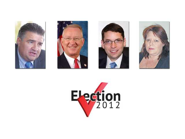 "The candidates on the ballot for the 25th Congressional District, from left, Dante Acosta, Congressman Howard ""Buck"" McKeon, Lee Rogers and Cathie Wright."