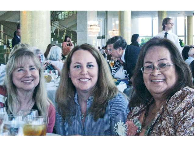 Tess Carlos, right, poses with Senior Center Director of Volunteers Robin Clough, left, and Senior Center Associate Executive Director Linda Alexander-Lieblang at the 47th Annual Older Americans Recognition Day Awards.