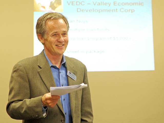 Steve Tannehill of the Small Business Development Center speaks at the Santa Clarita Valley Chamber of Commerce office in Valencia on Friday.