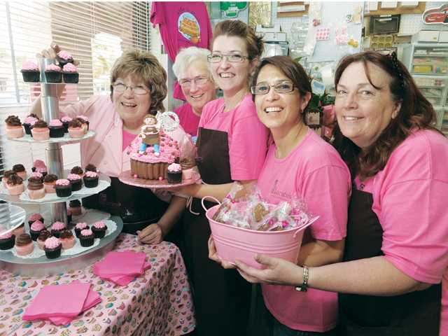 Clarice's staff celebrates the 25th year of ownership by Nanci Olmos: from left, Olmos, Rosie Hale, Rebecca Angelotti, Nannette Schmidt and Barbie Campeau at their anniversary celebration in Newhall on Saturday.