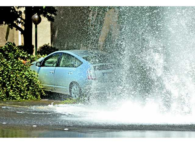 A Toyota Prius knocked down a tree and broke a fire hydrant on Wiley Canyon Road near Orchard Village Road in Santa Clarita on Saturday afternoon.