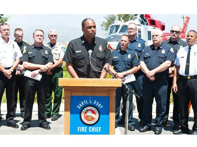 Fire Chief Daryl Osby of the Los Angeles County Fire Department speaks at a news conference on Monday.
