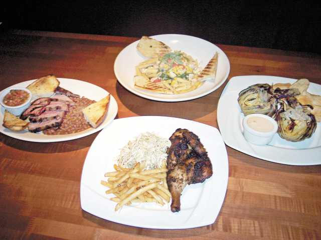 (Clockwise, from top) Cajun chicken penne pasta, mesquite grilled artichoke, oven-roasted half chicken, Santa Maria tri-tip.