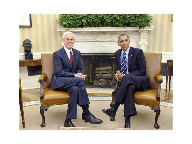 President Barack Obama meets with John Bryson, former Secretary of Commerce, in the Oval Office of the White House in Washington, Thursday,