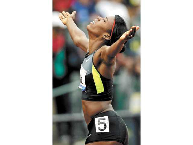 Alysia Montano reacts after the women's 800m final at the U.S. Olympic Track and Field Trials Monday in Eugene, Ore.