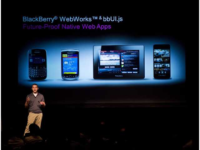 Tim Neil, Research In Motion Ltd.'s Canadian Operating Director of Operations, Platforms and Tools, speaks about the Blackberry 10 architecture during the RIM Blackberry 10 Jam World Tour in Toronto on Thursda.