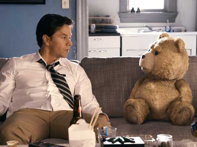 "This film image released by Universal Pictures shows Mark Wahlberg, left with the character Ted, voiced by Seth MacFarlane in a scene from ""Ted."""