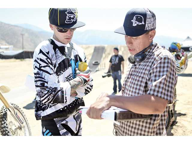 "Nick Parada talks to Colin ""Scummy"" Morrison about a scene where his character prepares for a freestyle motocross jump show."