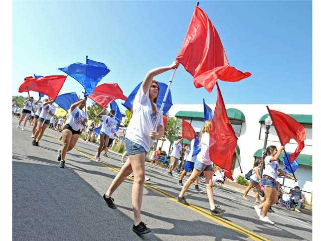 Members of the All-Santa Clarita Valley High School Band march down Main Street during the Santa Clarita Fourth of July Parade in Newhall on Wednesday.