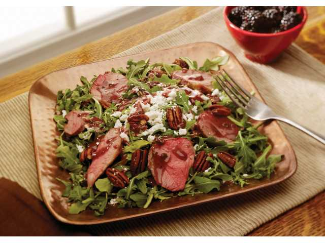 American lamb arugula salad with blackberry vinaigrette