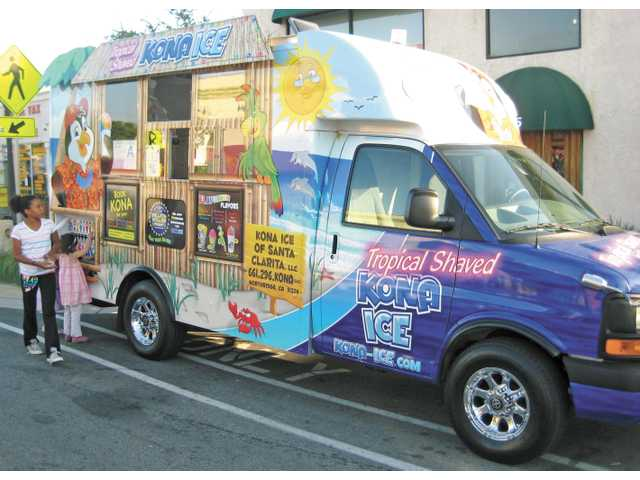 The Kona Ice truck at the Newhall Farmer's Market on June 15.