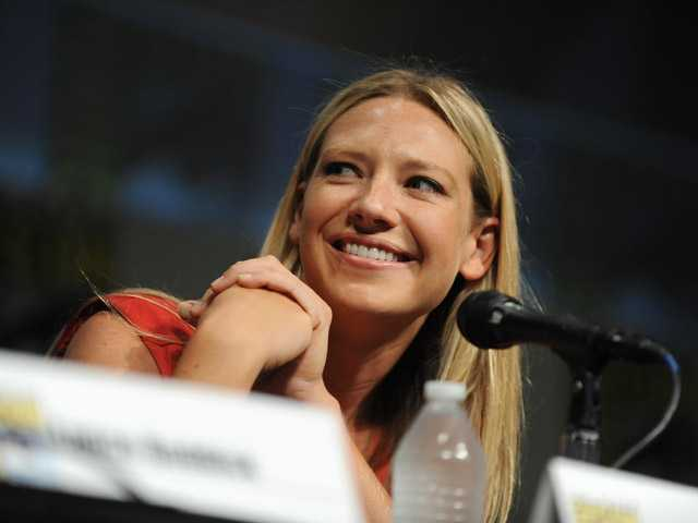 "Anna Torv speaks at the ""Fringe"" screening and panel at Comic-Con on Sunday in San Diego."