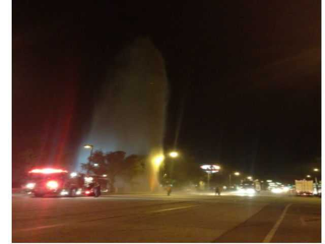 A big-rig truck making a U-turn on a Castaic street knocked over a high-pressure fire hydrant and sent water shooting 100 feet into the air, a fire official said Tuesday.