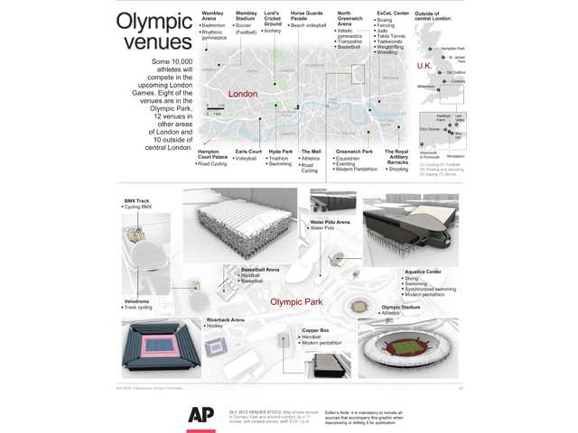 A look at venues for the 2012 London Olympics. Click here to see in full size.