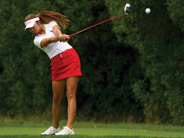 Valencia's Alison Lee shoots on the fourth hole during the semifinal round of match play at the 2012 U.S. Girls' Junior Championship at Lake Merced Golf Club in Daly City on Friday.