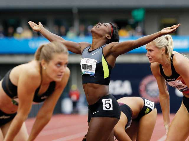 Canyon graduate Alysia Montano (5) reacts after winning the women's 800m final at the U.S. Olympic Track and Field Trials on June 25 in Eugene, Ore. Montano, formerly known as Alysia Johnson, qualified for the 2012 Olympic Games in the event, with heats starting Aug. 8.