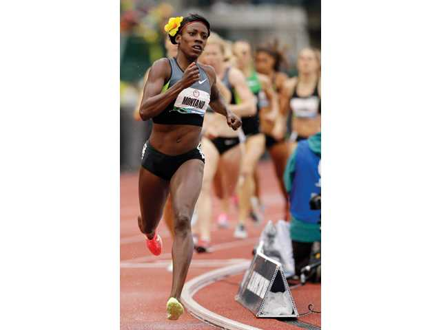 2004 Canyon High School graduate Alysia Montano leads the way in the women's 800m final at the U.S. Olympic Track and Field Trials on June 25 in Eugene, Ore.