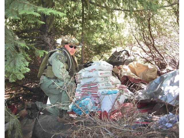 Patrick Foy, warden with the Department of Fish and Game, kneels next to bags of illegal Mexican pesticide, which were seized during a raid on an illegal marijuana-growing operation.