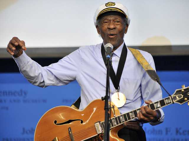 "This Feb. 26, 2012 file photo, musician Chuck Berry plays ""Johnny B. Goode"" at the John F. Kennedy Presidential Library and Museum in Boston."