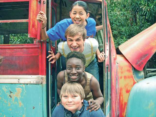 "From the top, Spoon (Leah Lewis), Fred (Lucas Cruikshank), Dig (Adrian Kali Turner) and Chatter (Matthew Scott Miller)  in ""Fred 3: Camp Fred"" on Nickelodeon."