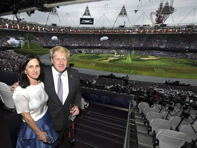 The Mayor of London Boris Johnson, left, and his wife Marina Wheeler arrive for the start of the Opening Ceremony of the 2012 Olympic Summer Games at the Olympic Stadium in London on Friday.