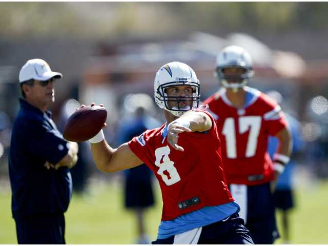 Former San Diego Chargers quarterback and Hart high graduate Kyle Boller takes part in a Chargers' practice on Friday in San Diego.