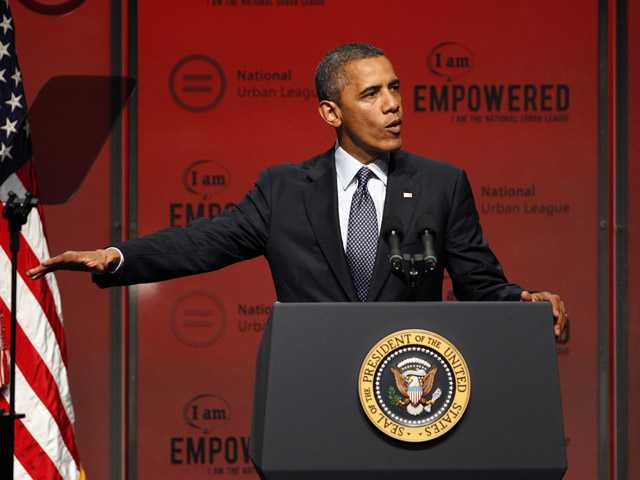 In this July 25, 2012, photo, President Barack Obama address the National Urban League Conference in New Orleans.