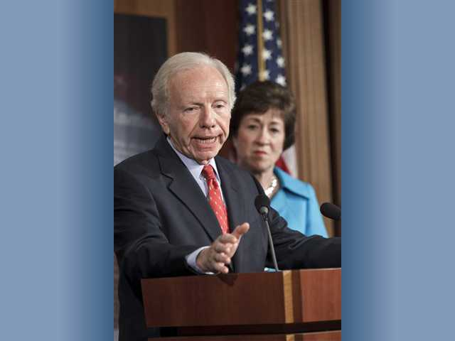 Senate Homeland Security and Governmental Affairs Committee Chairman Sen. Joseph Lieberman, I-Conn., accompanied by the committee's ranking member Sen. Susan Collins, R-Maine, announces that the Senate will take up legislation later this week to protect critical U.S. industrie.