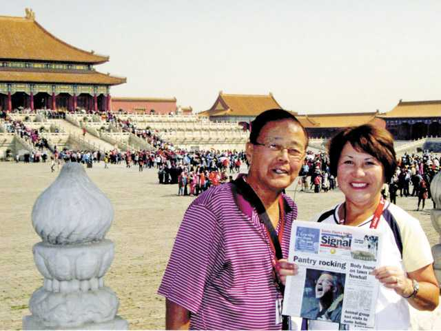 "Malcolm and Lorraine Fukumoto, 27-year residents of Valencia, completed a two-week China tour that included this stop at the Forbidden City, which was featured in the movie, ""The Last Emperor."""
