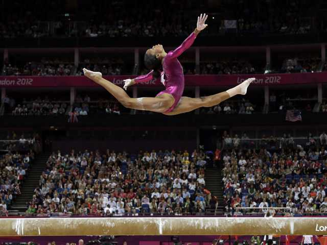 U.S. gymnast Gabrielle Douglas performs on the balance beam during the artistic gymnastics women's individual all-around competition at the 2012 Summer Olympics on Thursday in London.