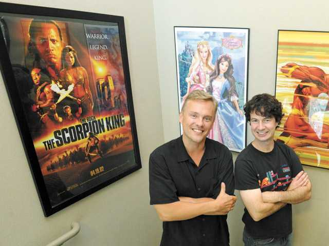 John Beck, left, and Voldi Way of WayForward in their Valencia studio on July 13.