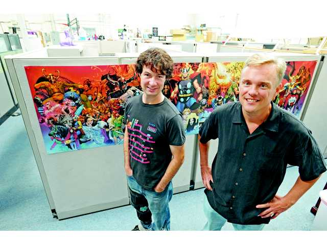 Foudner Voldi Way (l) of WayForward and John Beck, general manager, in their Valencia studio on July 13.