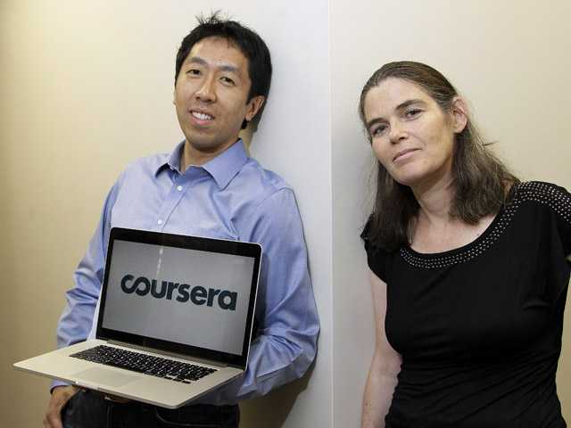 In this Thursday photo, Andrew Ng and Daphne Koller, Stanford University computer science professors who started Coursera, pose for a photo at the Coursera office in Mountain View.