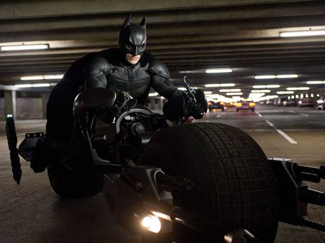 "This file film image released by Warner Bros. Pictures shows Christian Bale as Batman in a scene from the action thriller ""The Dark Knight Rises."""