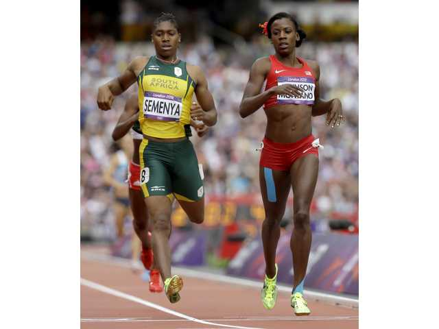 United States runner and Canyon High graduate Alysia Johnson Montano beats South Africa's Caster Semenya in a women's 800-meter heat on Wednesday in London.