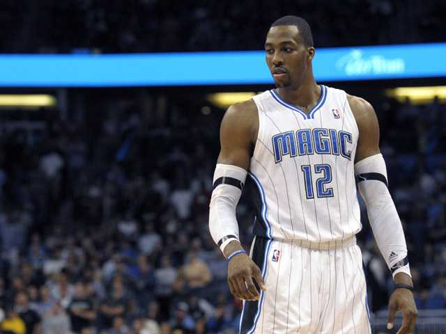 This file photo taken March 13 shows Orlando Magic center Dwight Howard during an NBA basketball game in Orlando, Fla.