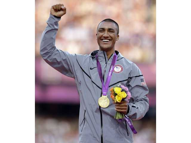 United States' Ashton Eaton won a gold medal in the men's decathlon in London on Friday.