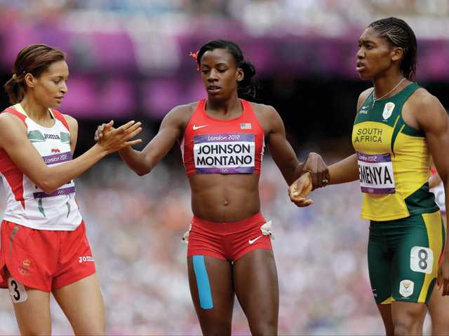 American and Canyon graduate Alysia Johnson Montano, center, shakes hands with Morocco's Halima Hachlaf, left, and South Africa's Caster Semenya after their heat in the women's 800-meters in the Olympic Stadium at the 2012 Summer Olympics in London on Wednesday.