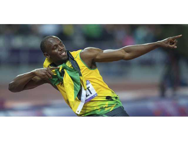 Jamaica's Usain Bolt poses after his win in the men's 200 meters at the Summer Olympics in London on Thursday.