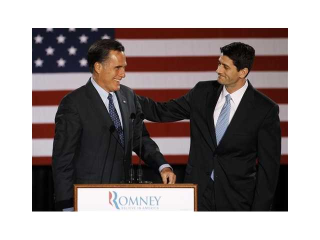 House Budget Committee Chairman Rep. Paul Ryan, R-Wis. introduces Republican presidential candidate, former Massachusetts Gov. Mitt Romney in Milwaukee in April.