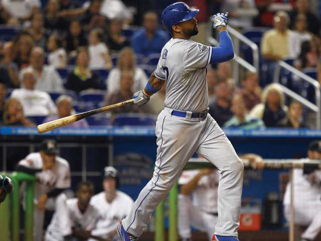 Los Angeles Dodgers Matt Kemp bats during the second inning of a baseball game in Miami on Saturday against the Miami Marlins. He had three hits, two stolen bases and one RBI. The Marlins won 7-3.